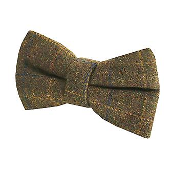 Dobell Forest Green Windowpane Check Bow Tie