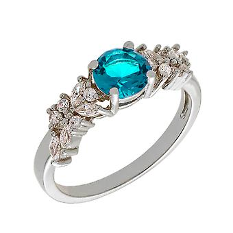 Bertha Juliet Collection Women's 18k WG Plated Light Blue Cluster Fashion Ring Size 6