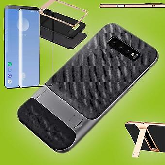 Standing hybrid case bag grey for Samsung Galaxy S10 G973F + 4 d H9 hard glass