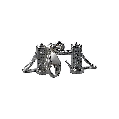 Silver 9x20mm Tower Bridge Charm with a lobster catch