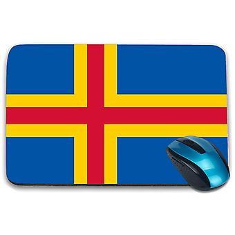 i-Tronixs - Aland Island Flag Printed Design Non-Slip Rectangular Mouse Mat for Office / Home / Gaming - 0202