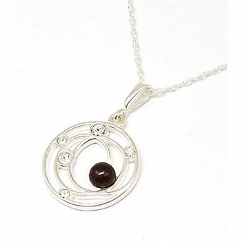 Toc Sterling Silver Circle Cz and Cherry Amber Pendant on 18 Inch Chain