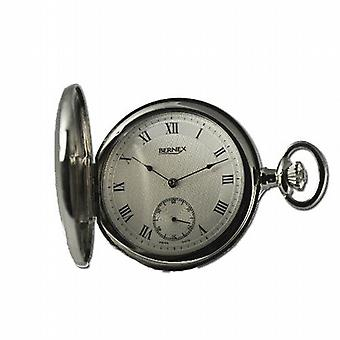 Bernex Silver Tone Hunters Gents Pocket Watch BN22203