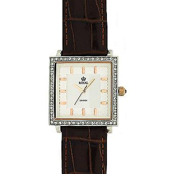Royal London Ladies Textured Dial pietra Set Brown Leather Watch Strap 21011-03