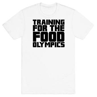 Training for the food olympics white t-shirt