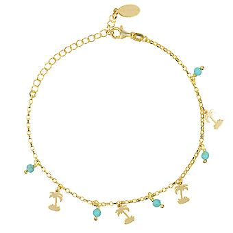 Turquoise Palm Tree Gemstone Bracelet Gold Delicate Light Blue Birthstone Charm