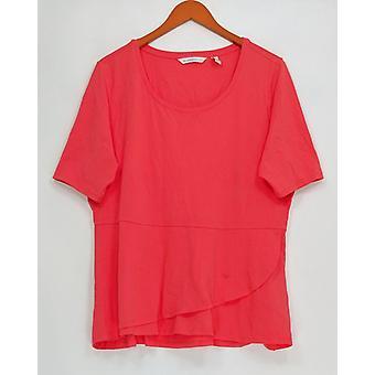 Isaac Mizrahi en direct! Femmes-apos;s Top Elbow Sleeve Peplum Flounce Red A303962
