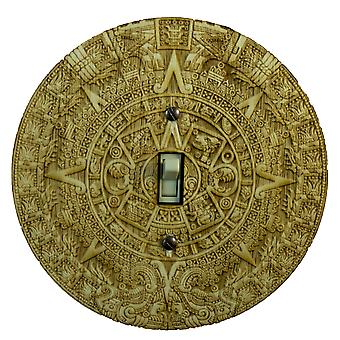 Mayan calendar switch plate - raw wood - 5.9