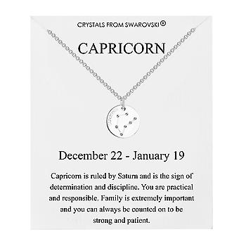 Capricorn starsign disc necklace created with swarovski® crystals