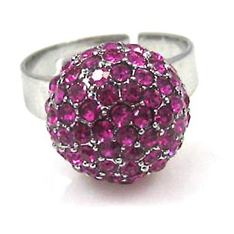 Swarovski Crystal Small Fuchsia Disco Ball Ring