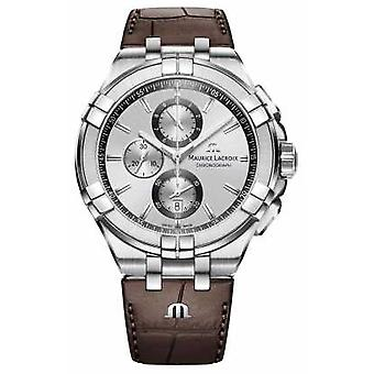 Maurice Lacroix Mens Aikon Cronografo Brown Leather Watch Strap quadrante argento AI1018-SS001-130-1