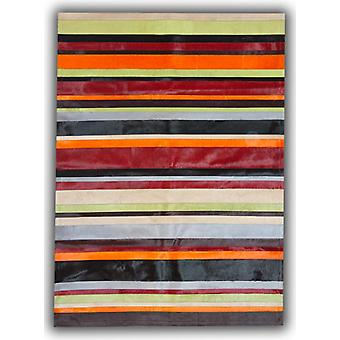 Rugs - Patchwork Leather Cowhide - Multi Colour Horizontal Stripes