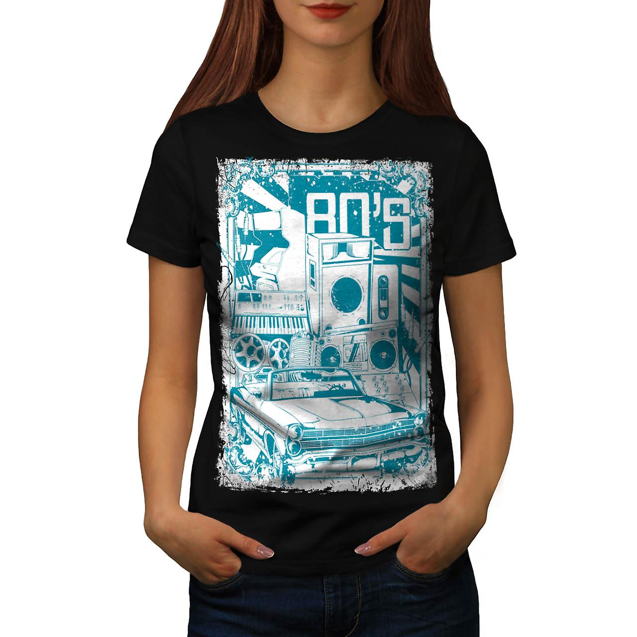 DJ 80's Theme Night Music Car Women Black T-shirt | Wellcoda