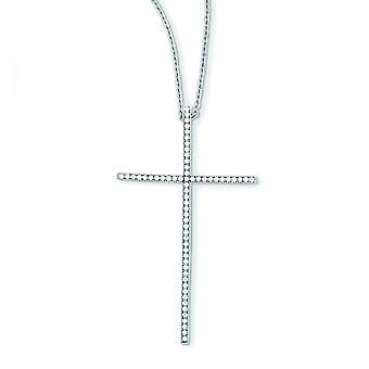 Sterling Silver and Cubic Zirconia Brilliant Embers Cross Necklace - 18 Inch