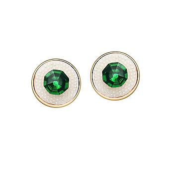 14K Gold Plated Emerald Green Crystal Simulated Pearl Studs
