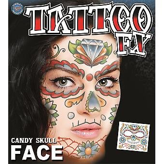 Tinsley Transfers Candy Skull Face Tattoo FX