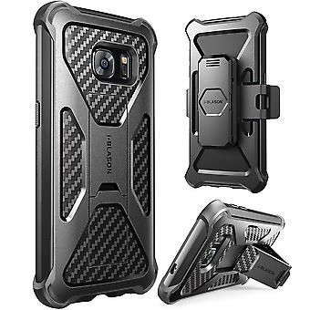 i-Blason-Samsung Galaxy S7 Prime Series Kickstand Case with Belt Clip Holster-Black