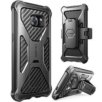i-Blason-Samsung Galaxy S7 serie privilegiata cavalletto custodia con Clip cintura Fondina-nero