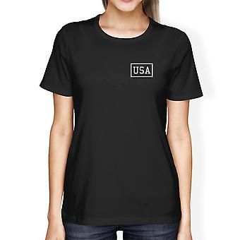 Mini USA Womens Black Tee Simple Design USA Lovers Unique Gift Idea