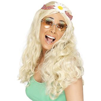 Hippie party wig blonde with flower band flower power
