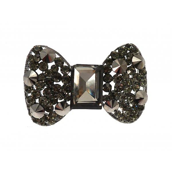 W.A.T Large Pewter Style Sparkling Crystal Bow Ring