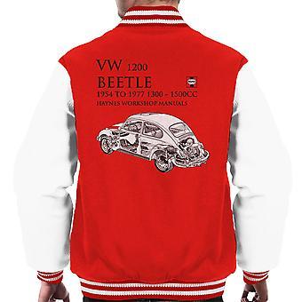 Haynes Workshop Manual 0039 VW 1200 Beetle Black Men's Varsity Jacket