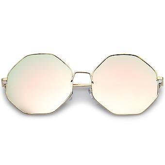 Oversize Metal Frame Slim Temple Pink Mirror Lens Hexagon Sunglasses 63mm