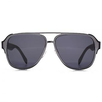 Alexander McQueen Sculpted Metal Pilot Sunglasses In Ruthenium Black