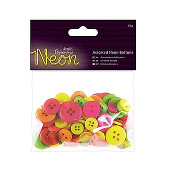 50g Neon Assorted Coloured Buttons for Crafts | Sewing Scrapbooking Card Making