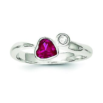 Sterling Silver Bezel Polished Open back Red Cubic Zirconia Heart Ring - Ring Size: 6 to 8