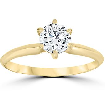 14k Yellow Gold 1ct ronde Solitaire Diamond Engagement Ring