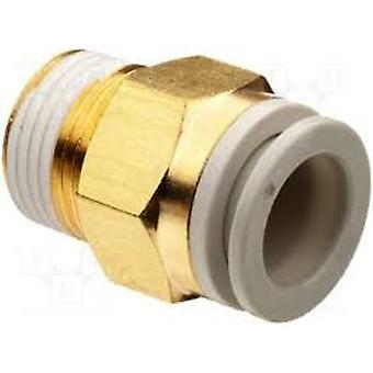 SMC Pneumatic Straight Threaded-to-Tube Adapter, R 1/4 Male, Push In 12 mm