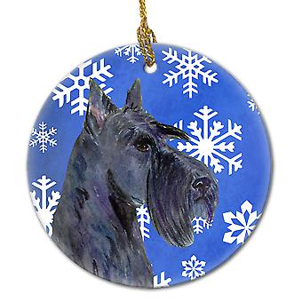 Scottish Terrier Winter Snowflakes Holiday Christmas Ceramic Ornament SS4667