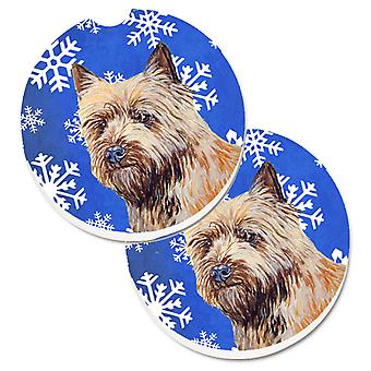 Cairn Terrier Winter Snowflakes Holiday Set of 2 Cup Holder Car Coasters