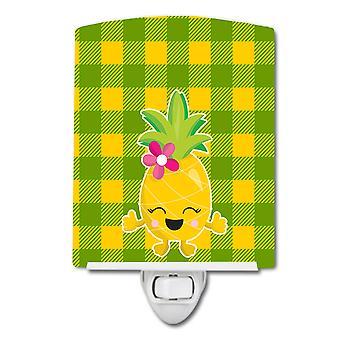 Carolines skatter BB8963CNL ananas jente Laughy ansiktet keramiske nattlys