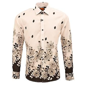 Oscar Banks Floral Placement Print Mens Shirt