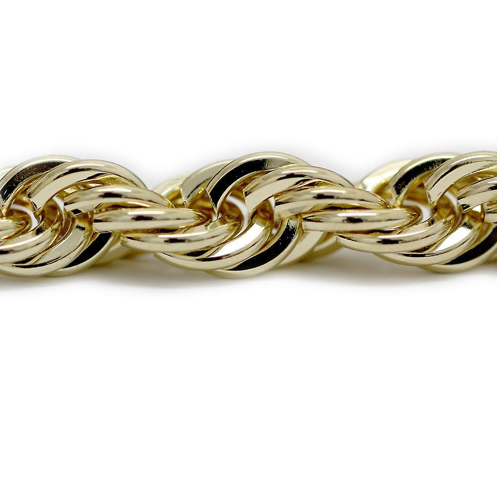 18K goud vergulde Old School Hip Hop Rope Chain, Dookie ketting 10 mm x 30 inch