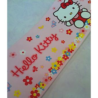Hello Kitty Wallpaper Border Flowers Daisy Floral Cat Pink Multicoloured 10m