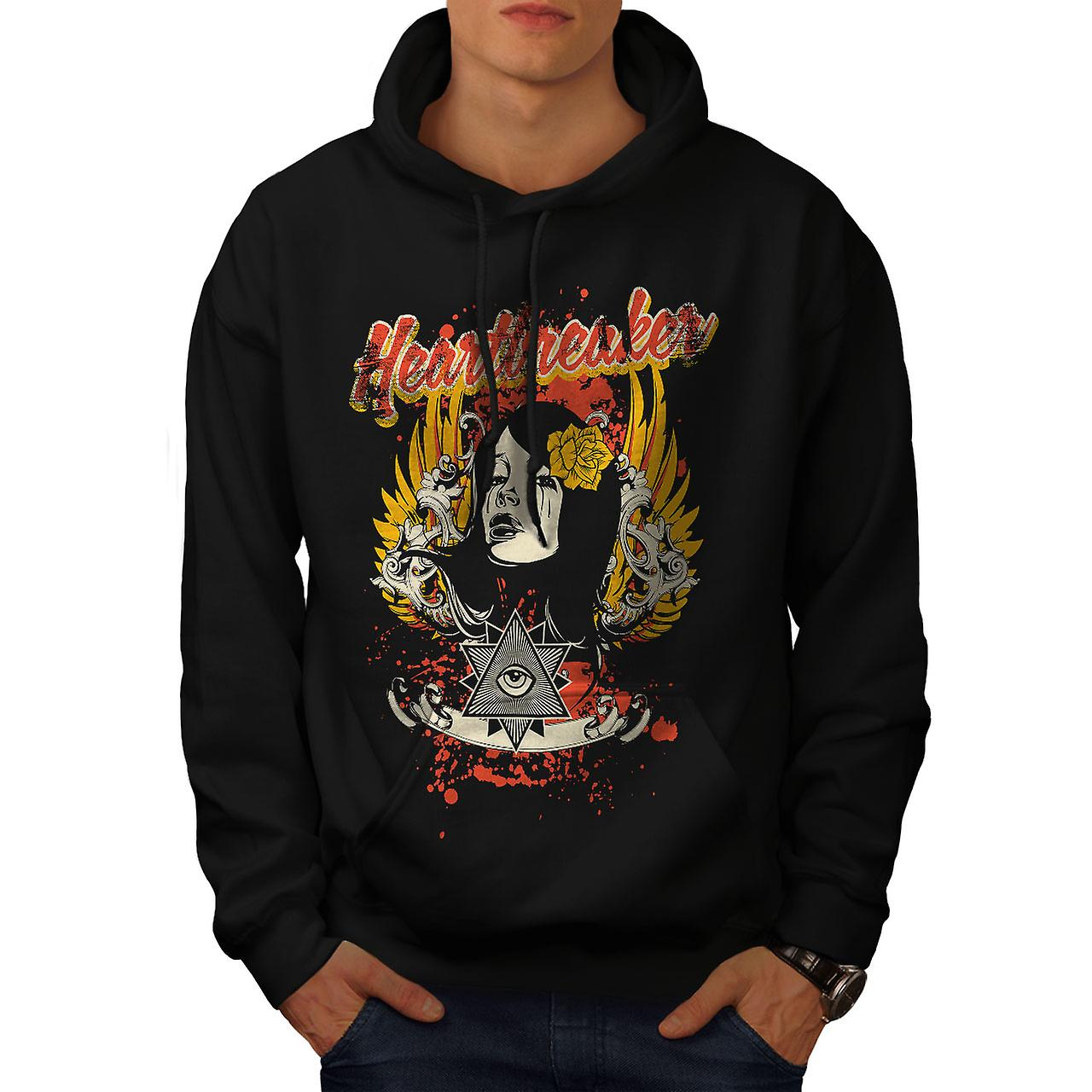 Heartbreaker Rose Fashion Men Black Hoodie | Wellcoda