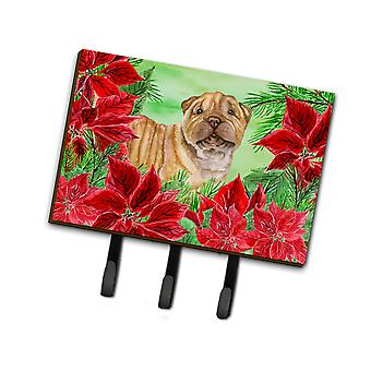 Carolines Treasures  CK1366TH68 Shar Pei Puppy Poinsettas Leash or Key Holder
