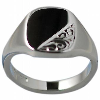 Zilveren 12x10mm vaste hand gegraveerde kussen Signet Ring grootte Q