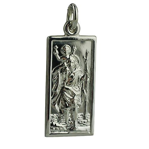 9ct White Gold 26x13mm rectangular St Christopher Pendant