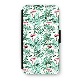 iPhone X Flip Case - Flamingo leaves