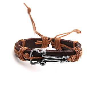 Man guitar brown leather bracelet and cord Beige