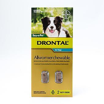 Drontal Allwormer tabletas masticables para perros mediano hasta 22lbs(10kg), 2 mastica Pack
