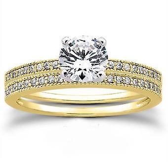 14K Yellow Gold 3/4ct Round Diamond Vintage Engagement Pave Ring Set