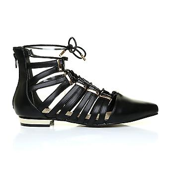 KAREN Black PU Leather Pointed Toe Lace Up Gladiator Sandal Shoes with Gold Trim