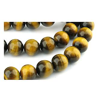 Strand 95+ Yellow/Brown Tiger Eye 4mm Plain Round Beads GS0373-1