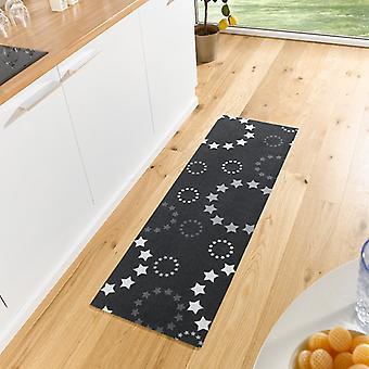 Wasbaar keuken loper van sterren zwart 50 x 150 cm