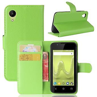 Tasche Wallet Premium Grün für Wiko Sunny 2 Schutz Hülle Case Cover Etui Neu